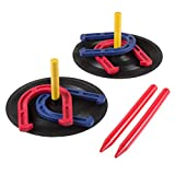 Rubber Horseshoes Game Set for Outdoor and Indoor Games - Perfect for Tailgating, Camping, Backyard and Inside Fun for Adults and Kids by Hey! Play! Black, 12 X 13.5 X 12'