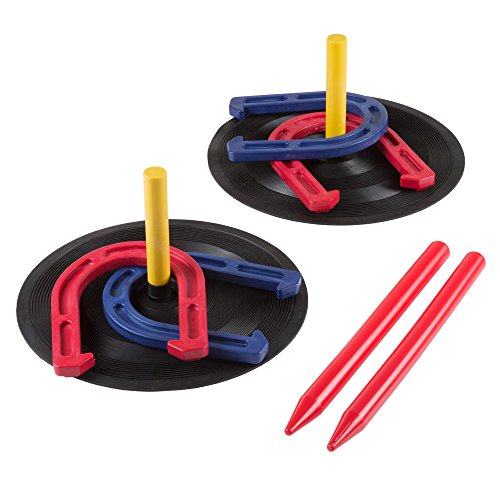 """Rubber Horseshoes Game Set for Outdoor and Indoor Games - Perfect for Tailgating, Camping, Backyard and Inside Fun for Adults and Kids by Hey! Play! Black, 12 X 13.5 X 12"""""""