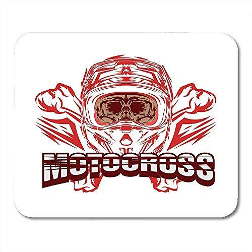 Muiskussentjes Wit Collectie Fietshelm Motocross Schedel Rider Ontwerp Cartoon Kleur Muismat Voor Notebooks Computers Muismatten - 9.4x7.8 inch