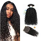 Brazilian Jerry Curly Hair Bundles, Deep Curly Virgin Human Hair 3 Bundles, Brazilian Cheap Jerry Curls Weave, 9A Unprocessed Kinky Curly Hair Extension for Black Women (18''20''22''+ 18''closure)