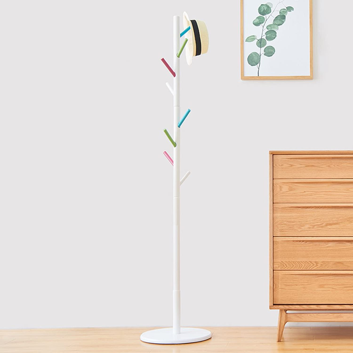 Simple Solid Wood Floor Coat Rack, Assembly 8 Hook, H176cm (color  Colourful) ( Size   Large )