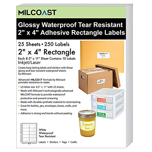"""Milcoast Glossy White Waterproof Tear Resistant Blank Adhesive 2"""" x 4"""" Rectangle Shaped Labels - for Inkjet/Laser Printers - 250 Labels (25 Sheets)"""