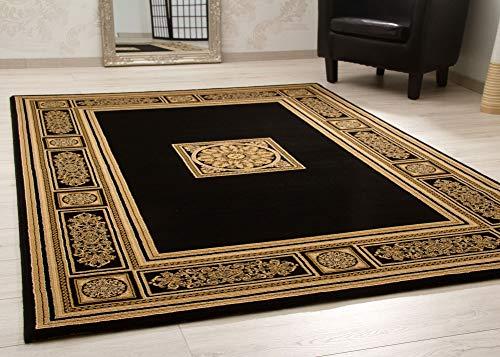 Steffensmeier Wohnzimmerteppich Classical Quality | Kurzflor Teppich in Gold Schwarz, Größe: 133x195 cm, orientalisch gemustert