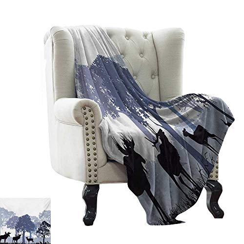 LsWOW cobija de Alce Fresco, Cabeza de Ciervo Canadiense Sagrado Norte Salvaje mamíferos Caza gráfico, Verde Militar café cálido e hipoalergénico Lavable Couch/Bed Throws
