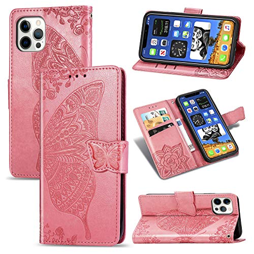 LODROC iPhone 12 Pro Hülle, TPU Lederhülle Magnetische Schutzhülle [Kartenfach] [Standfunktion], Stoßfeste Tasche Kompatibel für Apple iPhone 12 Pro 2020 - LOSD0100072 Rosa