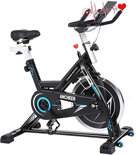 ANCHEER - Bicicleta de spinning con volante de inercia de 22 kg con pantalla LCD, sensor de impulso, conecta con la App manillar y sillín ajustables, carga máxima 120 kg (volante de inercia 22 kg)