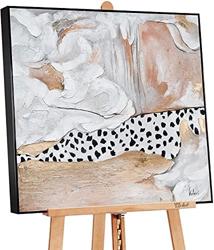 """YS-Art Cuadro hecho a mano """"Estilo"""" con pinturas acrílicas sobre lienzo DL014 (90 x 90 cm)"""