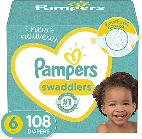 Price comparison product image Baby Diapers Size 6,  108 Count - Pampers Swaddlers,  ONE MONTH SUPPLY (Packaging and Prints on Diapers May Vary)