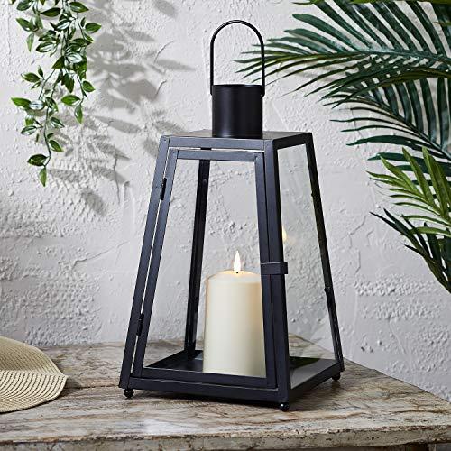 Lights4fun Farol Trapecio en Metal Negro de 36cm con Vela TruGlow® LED Blanco Cálido a Pilas para Exteriores ⭐