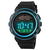 Multi Function Solar Power Watch LED Sport Watches Digital Waterproof Chronograph Wrist Watch (Blue)