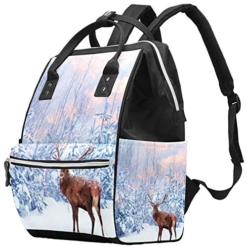 TIZORAX Beauty Snowland Reindeer Luiertas Reizen Moeder Tassen Nappy Rugzak Grote Capaciteit voor Baby Zorg