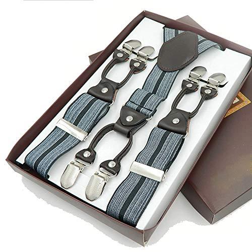 YIJIAHUI bretels voor heren Y-vormige leren armband voor heren, 6 clips, gestreepte grijze armband voor volwassenen, elastische broek met bretels