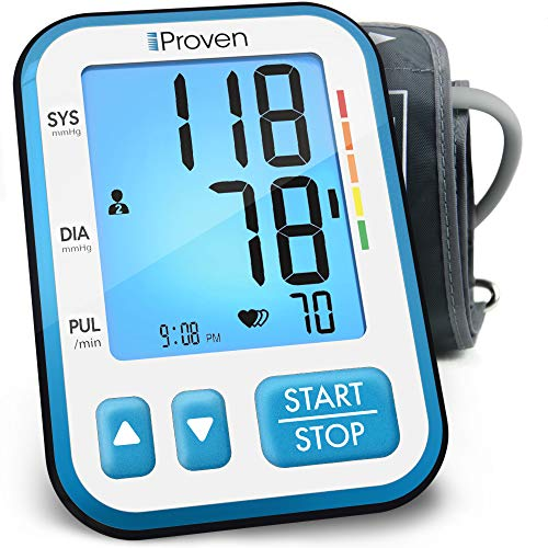 """Upper Arm Blood Pressure Monitor with Large Cuff 8¾"""" - 16½"""", 120-reading memory includes batteries, Automatic & Accurate Blood Pressure Machine with backlight - iProven BPM-656"""