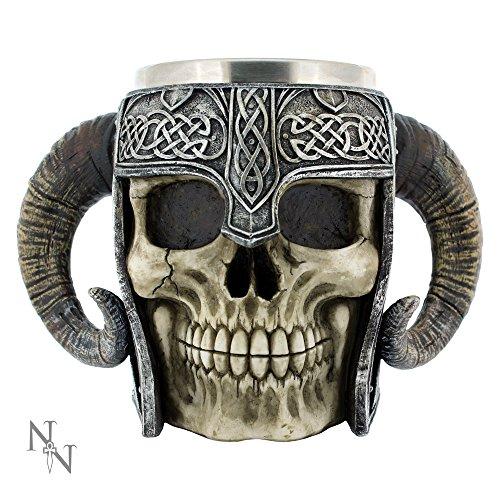 Nemesis Now - Tazza da boccale con teschio vichingo, 16 cm, colore: Marrone
