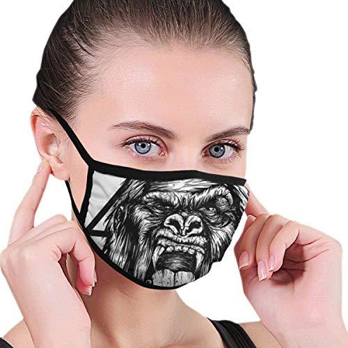 684 Unisex Print Mundschutz, Gorilla Wind Resistant Face Covers Staubschutzwaschbar Wiederverwendbar Atmungsaktiv Warm für den Außenbereich