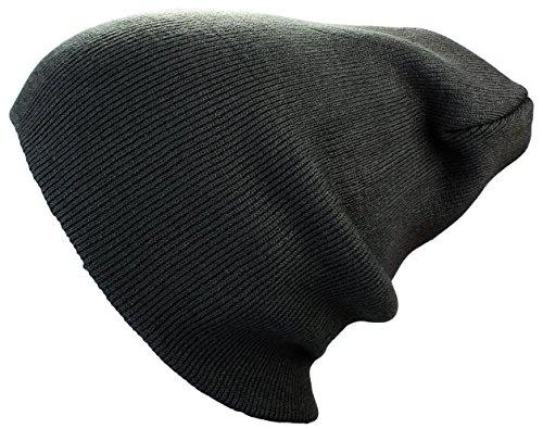 Bonnet XXL Long/Basic Flap en gris foncé Bonnet Femmes/Homme Bonnets d'Hiver tricoté