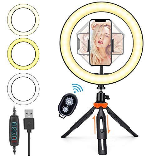 10.2'' Ringlicht mit Höhenverstellbarem Stativ, HOVVIDA 26cm Selfie LED Ringleuchte für Handy, mit Fernsteuerung, 3 Farbe und 10 Helligkeitsstufen...