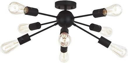 VINLUZ 8 Light Sputnik Chandelier Black Mid Century Modern Ceiling Light Industrial Pendant Lighting for Kitchen Dining Room Living Room