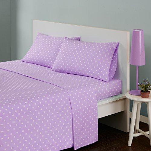 MI ZONE 100% Cotton Percale Ultra Soft Sheet Set, Full, Purple Polka Dot