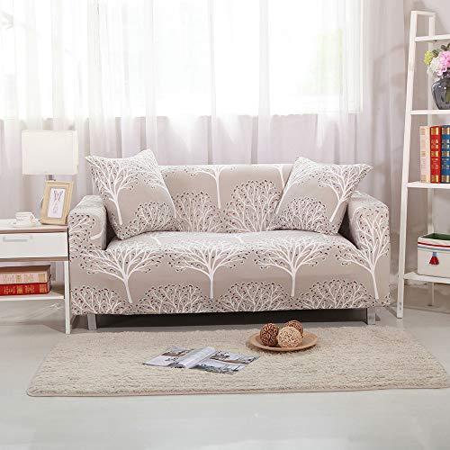 Surwin Funda de Sofá Elástica para Sofá de 1 2 3 4 plazas, Impresión Universal Cubierta de Sofá Cubre Moda Sofá Antideslizante Sofa Couch Cover Protector (1 Plaza - 85-135cm,Árboles de Color Caqui)