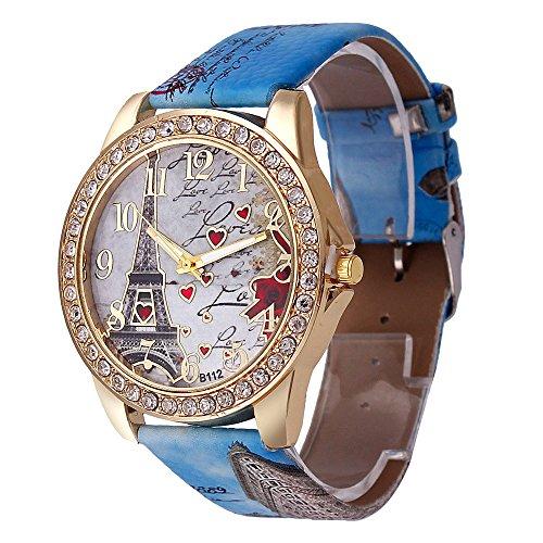 Women's Wrist Watch Vintage Paris Eiffel Tower Crystal Leather Quartz Wristwatch Best Gift (Blue -1)