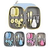 8pcs / set Baby Nail Clipper Trimmer Tijeras Cepillo de pelo Peine Aseo Manicura Conveniente kit de cuidado de seguridad diario (Size : Yellow)