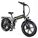 GDSEBIKE Electric Bike for Adults 20' ebike Full Suspension 750W Motor Fat Tire Electric Bike Mountain Beach Snow Bike 48V 12Ah Removable Battery 32MPH