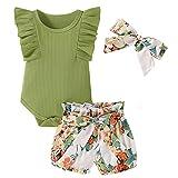 Psafagsa Conjunto de manga corta para niña con volantes + pantalones cortos + juego de 3 piezas con diadema, 0-24 meses Verde 6- 12 meses