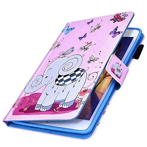 MoreChioce kompatibel mit Galaxy Tab E 9.6 T560 Hülle,kompatibel mit Galaxy Tab E 9.6 Smart Cover,Bunt Schmetterling Elefant Ledertasche Stand Hülle Case Tablet Cover Brieftasche Protective Bumper