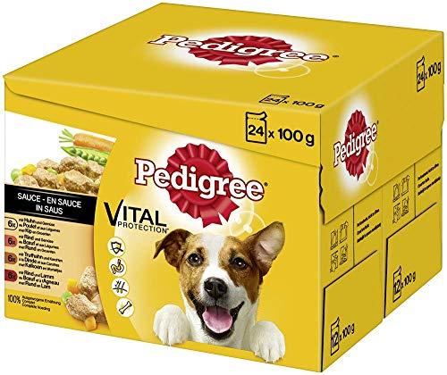 Pedigree Vital Protection Hundenassfutter im Beutel – Hundefutter in Sauce mit Huhn, Rind, Truthahn & Lamm –2 x 24 x 100g Großpackung