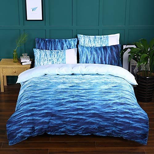Luofanfei Sea Duvet Cover King Size, Blue Ocean Waves Comforter Cover Soft Lightweight Microfiber-1 Duvet Cover and 2 Pillow Shams