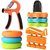 Ameolela Hand Grip Strengthener Kit with Finger Exerciser, Finger Stretchers, Adjustable Hand Gripper and Exercise Rings. Strength Trainer for Athletes, Pianists, Guitar and Therapy.