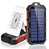 Solar Power Bank 30000mAh, Qi Wireless Portable Solar Charger with Adjustable Phone Holder, 4 Outputs 5V/3A & Dual inputs, Huge Capacity Phone Charger for Cell Phones, 34 LED Flashlights for Outdoor