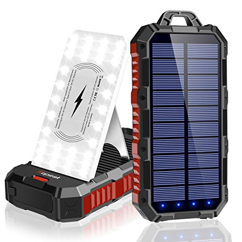 Solar Power Bank 30000mAh, Qi Wireless Portable Solar Charger with Adjustable Phone Holder, 4...