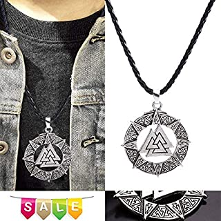 Best Gift Onefa Stainless Steel Slavic Norway Valknut Pagan Amulet Pendant Men Necklace Scandinavian Viking Jewelry Odin 's Symbol of Norse Warrior (Silver)