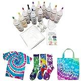 Bascar Set di 18 colori Tie-Dye Kit di tessuti colorati Tie Dye Kit con 40 fasce elastiche e tovaglia, Atossici, per progetti fai da te e attività di festa