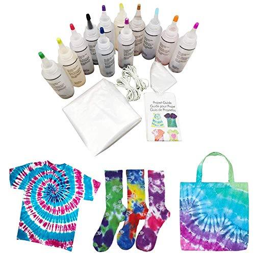 Bascar Batik-Set Tie-Dye Kit 18 Farbe teilig Tie-Dye-Kit, Stoff Textil Farben Tie Dye Kit mit 40 Stück Gummi Band und Tischtuch Ungiftig DIY Kleidung für DIY-Projekte und Partyaktivitäten (18 Farben)
