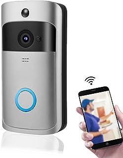 Timbre con video, timbre con videoportero inalámbrico, videoportero con wifi inteligente, con cámara de seguridad en la pu...