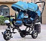 Triciclos Triciclo para niños, triciclo para bebés, triciclo multifuncional de 4 en 1 para niños con gemelos, asiento de doble rotación de seguridad, toldo desmontable, pedal, adecuado para niños de 1