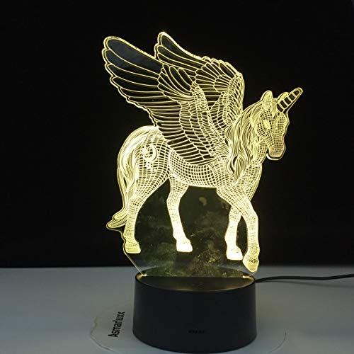Unicornio en forma de Navidad Lovely W Love 3D LED Luz de noche Lámpara de mesa Decoración de cabecera Regalo para niños