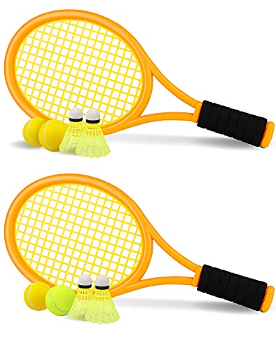 Tennis Racket Set for Children,17 Inch Racquet with 3 Soft Balls,1 Tennis Ball and 4 Badminton Balls for Toddler Indoor/Outdoor Sports