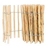 BOGATECO Staketenzaun Haselnuss Kastanie | Holz-Zaun 60 cm Hoch & 500 cm Lang | Lattennabstand 4-5 cm | Perfekt als Gartenzaun