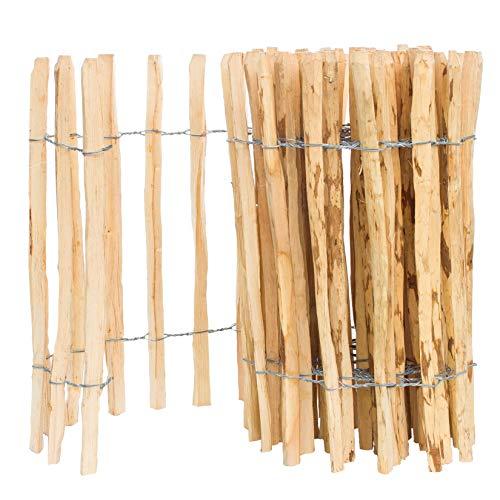BOGATECO Staketenzaun Haselnuss Kastanie | Holz-Zaun 50 cm Hoch & 500 cm Lang | Lattennabstand 4-5 cm | Perfekt als Gartenzaun