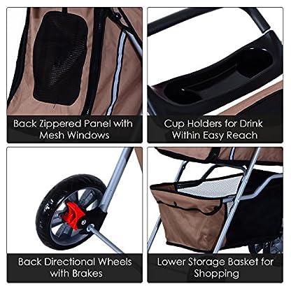 PawHut Pet Stroller Cat Dog Basket Zipper Entry Fold Cup Holder Carrier Cart Wheels Travel Brown 4