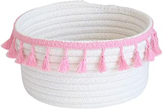 Znvmi Cute Cotton Rope Basket Small Storage Container Collapsible Nursery Box Baby Toys Organiser Diaper Bag  White Pink Tassel