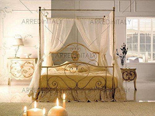 Cama de Matrimonio de Hierro de Color Marfil con Dosel Preparado para somier con Patas de 160 x 190 cm. No incluida. Producto...