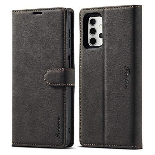 La selección de Cici para Samsung Galaxy A32 5G F1 Series Matte Potent Magnetismo Caja de Cuero de Intercambio Horizontal con Soporte y Ranuras para Tarjetas y Marco de fotografía (Color : Black)