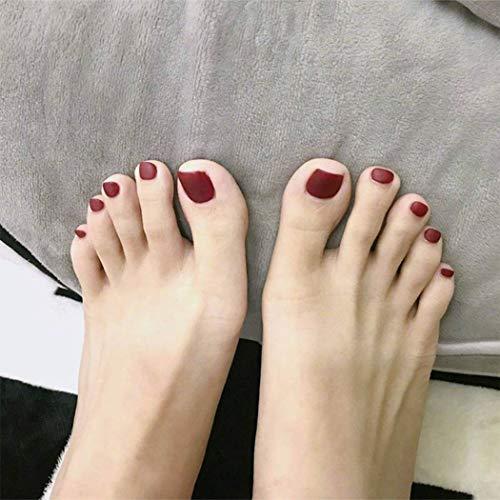 Yienate - Uñas postizas para dedos de los pies, elegante y exquisito, color borgoña