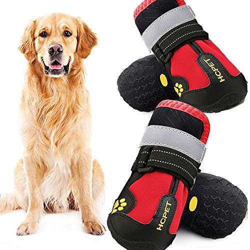 WAYA 4PCS Dog Waterproof Boots-Big Dog Shoes, Outdoor Winter Dog Boots with Reflective Tape Non-Slip Rubber Sole, Suitable for Medium and Large Dogs