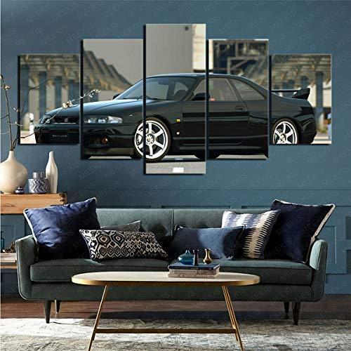 mmkow Impresión de Lienzo 5 Piezas Coche Nissan Altima Imagen Foto decoración del hogar 80x150cm (Marco)
